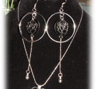 Set of Crystal Accentuated Heart Pendant Silver Plated Necklace and a Pair of Si