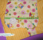Set of Reversible Minky Bib and Burp Cloth with Yellow and Various Color Prints
