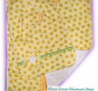 Set of Reversible Minky Bib and Burp Cloth with Yellow Shades and Green Color Pr