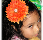 Handmade Orange Daisy Hair Clip
