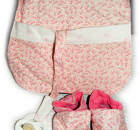 Set of Pink Reversible Binky Bib and Soft Fabric Shoes (6-12 months old)