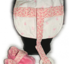 Set of Pink Reversible Binky Bib and Soft Fabric Shoes (0-6 months old)