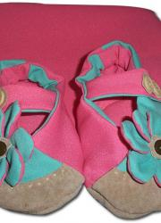 Pink & Teal Overlapped Handmade Baby Shoes (2.5-3 years)