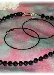 Set of Black Sea Shell Pearl Necklace and a Pair of Black Hoop Earring