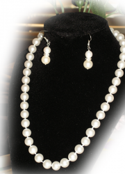 Set of White Sea Shell Pearl Necklace and a Pair of White Sea Shell Pearl Earring (Dangle)