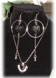 Set of Crystal Accentuated Heart Pendant Silver Plated Necklace and a Pair of Silver Plated Rose Earrings with Genuine Fresh Water Black Pearl Earrings