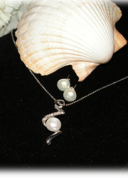 Set of Silver Plated Necklace with Genuine Fresh Water Pearl Pendant and a Pair of Genuine Fresh Water Pearl Silver Plated Stud Earring