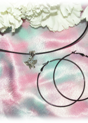 Set of Black Necklace with Tibetan Silver Butterfly Pendant and a Pair of Black Hoop Earring