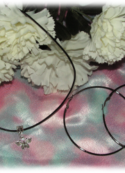 Set of Black Necklace with Tibetan Silver Butterfly Pendant and a Pair of Large Gray Hoop Earring