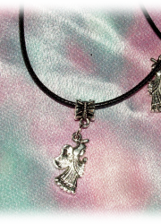 FREE Black Necklace with Tibetan Silver Angel Pendant (rules apply)