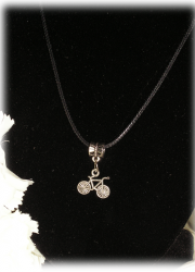 FREE Black Necklace with Tibetan Silver Bike Pendant (rules apply)