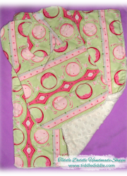 Set of Reversible Minky Bib and Burp Cloth with Green and Pink Prints