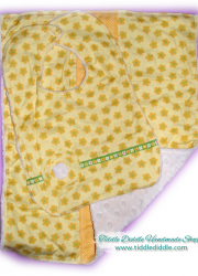 Set of Reversible Minky Bib and Burp Cloth with Yellow Shades and Green Color Prints