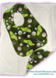 Set of Reversible Chenille Bib and Burp Cloth, Green Golf