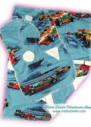 Set of Reversible Chenille Bib and Burp Cloth, Race Car Prints