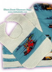 Set of Reversible Chenille Bib and Burp Cloth, Race Car Prints II