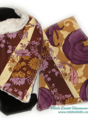 Set of 2 Minky Bandana Bibs with Light Brown and Purple Prints
