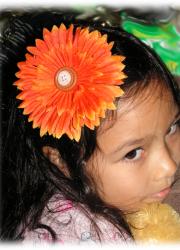 Handmade Orange Daisy Hair Clip