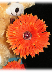 Handmade Orange Daisy Hair Clip with Brown and Red Buttons