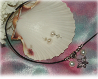 Set of Necklace with Genuine Fresh Water Pearl and Tibetan Silver Butterfly Pend