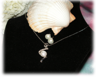 Set of Silver Plated Necklace with Genuine Fresh Water Pearl Pendant and a Pair