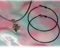 Set of Black Necklace with Tibetan Silver Owl Pendant and a Pair of Black Hoop E