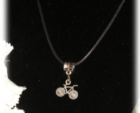 FREE Black Necklace with Tibetan Silver Bike Pendant