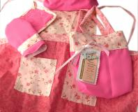 Pink Kid's Apron Set (Apron, Chef's Hat, Mitten and Pot Holder), 3-5 years old