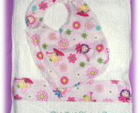 Set of Reversible Chenille Bib and Burp Cloth, Light Pink with Fairy Prints