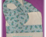 Set of Reversible Chenille Bib and Burp Cloth, Light Blue with Floral Prints