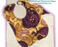 Set of Reversible Minky Bib and Burp Cloth with Brown and Purple Color Prints