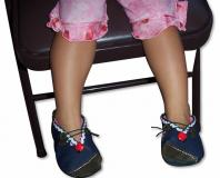 Lady Bug in Overlapped Denim Handmade Baby Shoes (2-2.5 years)