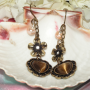 Bronze Heart Earrings Accentuated with Genuine Fresh Pearls